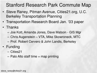 Stanford Research Park Commute Map