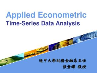 Applied Econometric Time-Series Data Analysis