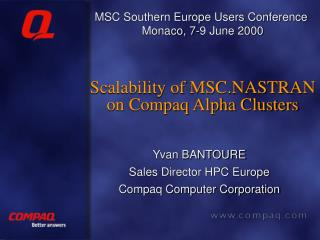 Scalability of MSC.NASTRAN on Compaq Alpha Clusters