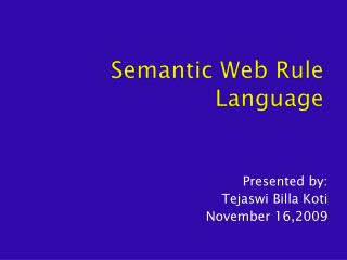 Semantic Web Rule Language