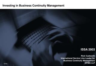Investing in Business Continuity Management