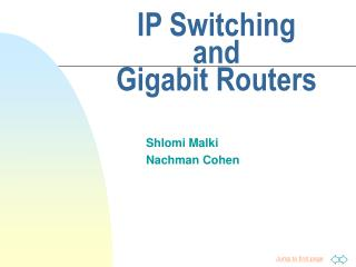 IP Switching  and  Gigabit Routers