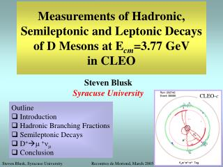 Measurements of Hadronic, Semileptonic and Leptonic Decays of D Mesons  at E cm =3.77 GeV  in CLEO