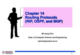 Chapter 14  Routing Protocols   (RIP, OSPF, and BGP)