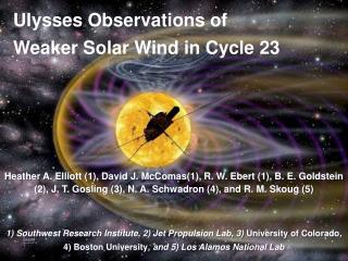 Ulysses Observations of  Weaker Solar Wind in Cycle 23