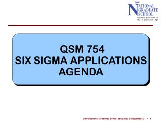 QSM 754 SIX SIGMA APPLICATIONS AGENDA