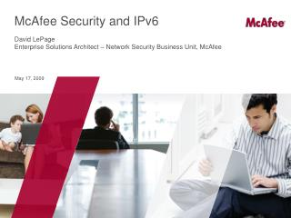McAfee Security and IPv6