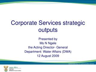 Corporate Services strategic outputs
