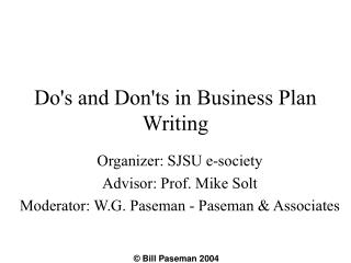 Do's and Don'ts in Business Plan Writing