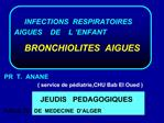INFECTIONS  RESPIRATOIRES                AIGUES    DE    L  ENFANT       BRONCHIOLITES  AIGUES