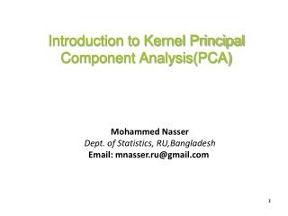 Introduction to Kernel Principal Component Analysis(PCA)