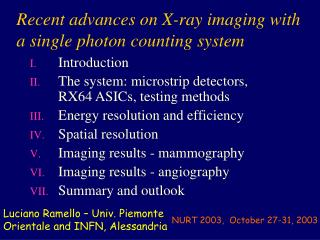 Recent advances on X-ray imaging with a single photon counting system