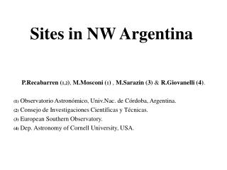 Sites in NW Argentina
