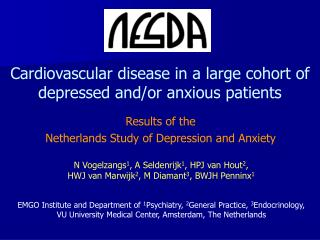 Cardiovascular disease in a large cohort of depressed and/or anxious patients
