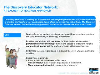 The Discovery Educator Network: A TEACHER-TO-TEACHER APPROACH