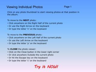 Viewing Individual Photos