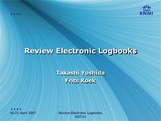 Review Electronic Logbooks