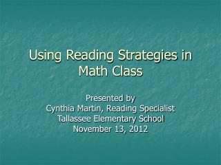 Using Reading Strategies in Math Class