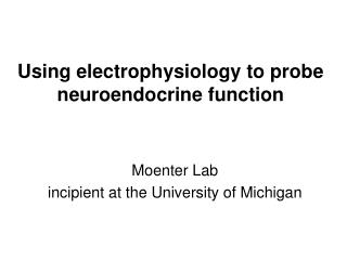 Using electrophysiology to probe neuroendocrine function