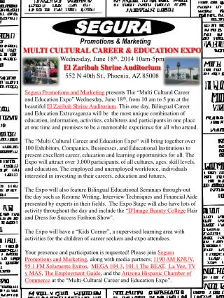 MULTI CULTURAL CAREER & EDUCATION EXPO Wednesday, June 18 th , 2014 10am-5pm