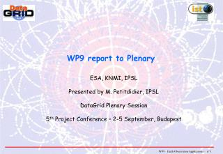 WP9 report to Plenary