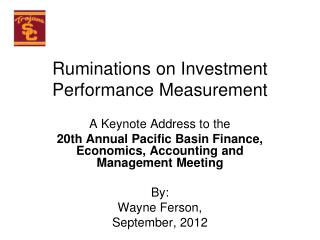 Ruminations on Investment Performance Measurement