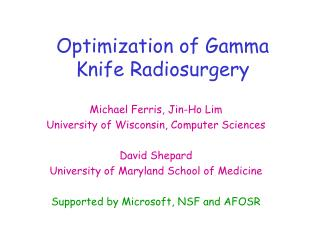 Optimization of Gamma Knife Radiosurgery