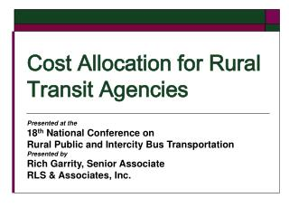 Cost Allocation for Rural Transit Agencies