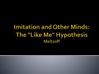 "Imitation  and  Other  Minds :  The  ""Like Me""  Hypothesis Meltzoff"
