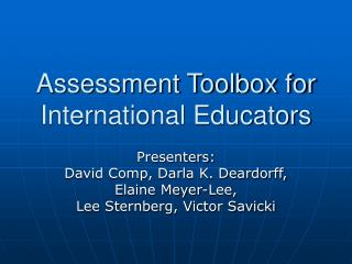 Assessment Toolbox for International Educators