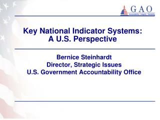 Key National Indicator Systems:   A U.S. Perspective