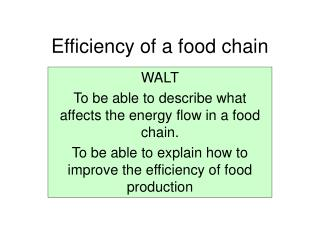 Efficiency of a food chain