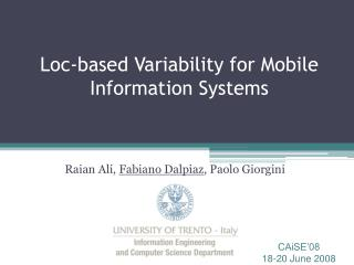 Loc-based Variability for Mobile Information Systems