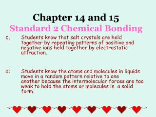 Chapter 14 and 15 Standard 2 Chemical Bonding
