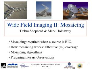 Wide Field Imaging II: Mosaicing Debra Shepherd & Mark Holdaway