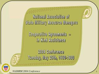 National Association of  State Military Resource Managers Cooperative Agreements  --