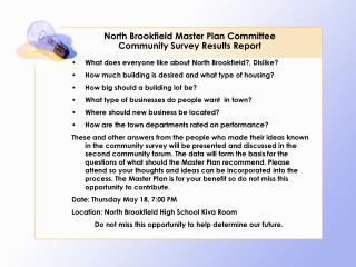 North Brookfield Master Plan Committee Community Survey Results Report