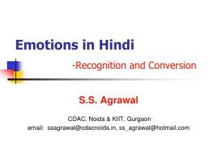 Emotions in Hindi -Recognition and Conversion