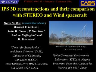 IPS 3D reconstructions and their comparison with STEREO and Wind spacecraft