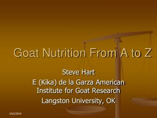 Goat Nutrition From A to Z