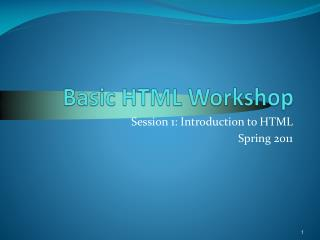 Basic HTML Workshop