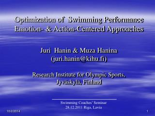 Optimization of  Swimming Performance Emotion- & Action-Centered Approaches