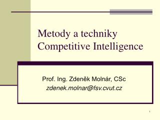 Metody a techniky Competitive Intelligence
