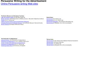 Persuasive Writing for the Advertisement Online Persuasive writing Web sites