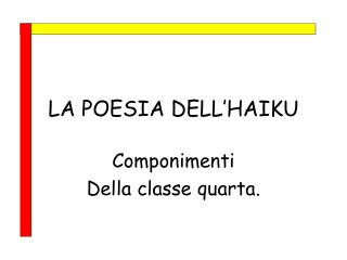 LA POESIA DELL'HAIKU