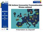 FSE Actions Innovantes Transnationales Niveau national