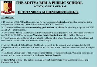 OUTSTANDING ACHIEVEMENTS 2011-12