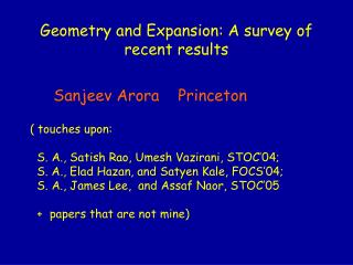 Geometry and Expansion: A survey of recent results