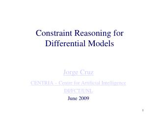 Constraint Reasoning for Differential Models
