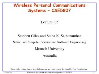 Wireless Personal Communications Systems – CSE5807